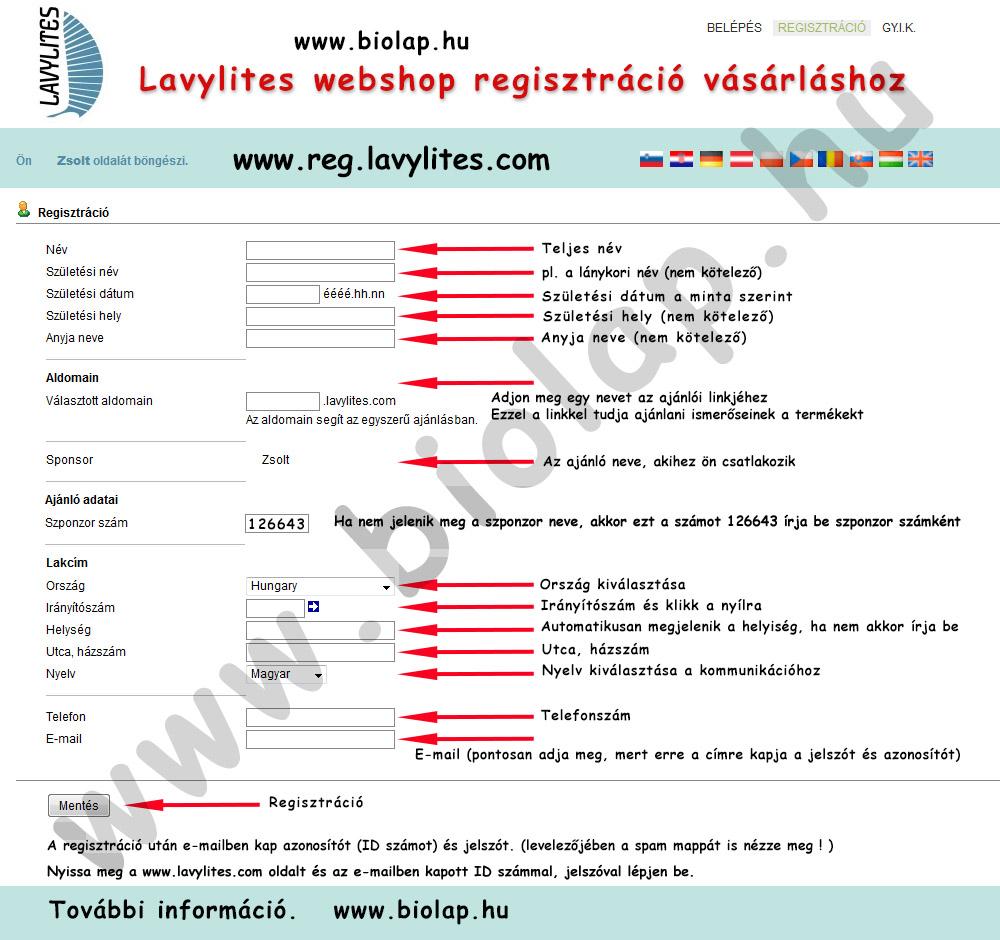 lavylites webshop regisztráció segédlet